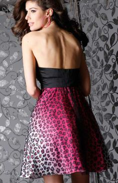Cocktail homecoming dress 1408 in leopard print | Promgirl.net
