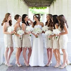 Champagne Bridesmaid Dresses In Lace Yes Could Be Cool An Off White Monochrome Theme With Bright Flowers Wedding Stuff Pinterest