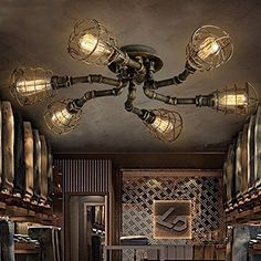 Details about Industrial Retro Pipe Chandelier Lighting Fixture Semi Flush Ceiling Lamp - All For House İdeas Industrial Ceiling Lights, Industrial Light Fixtures, Semi Flush Ceiling Lights, Industrial Pipe, Industrial Living, Vintage Industrial, Ceiling Light Design, Ceiling Lamp, Lampe Steampunk