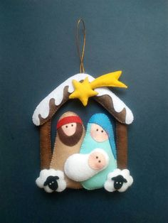 Looking for a Christmas decoration to be proud of and hang up year after year? Handmade Christmas Decorations, Felt Decorations, Christmas Ornaments To Make, Christmas Crafts, Nativity Ornaments, Nativity Crafts, Felt Ornaments, Christmas Sewing Projects, Felt Crafts