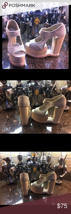 Jeffrey Campbell Super fun very tall heels. Very comfortable due to the platform.  If you need any more pictures please ask. These are truly different and rare to find.  No refund or exchanges. Jeffrey Campbell Shoes Platforms