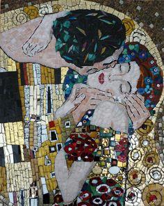 klimt kiss card | ... Kiss By Klimt Glass Art - Interpretation Of The Kiss By Klimt Fine Art