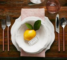 spring table setting with lemon