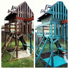 Before and after swing set makeover/ swing set repaint- cedar wood painted with watered down acrylic to give it a washed out look, all the plastic replanted with spray paint for plastic.