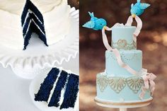 Pastel de bodas color azul.