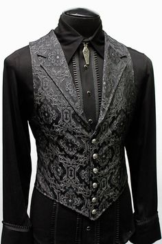 ARISTOCRAT VEST EDWARDIAN BROCADE Shrine of Hollywood is part of Mens fashion suits A Victorian gentleman& vest with class Great for formal occasions, can be worn under a suit jacket or by its - Gothic Fashion Men, Mens Fashion Suits, Gothic Men, Victorian Mens Fashion, Victorian Goth, Fashion Goth, Gothic Beauty, Girl Fashion, Womens Fashion