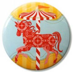 Mirror - Girls Carousel Horse Mirror & Fabric Pouch - hardtofind.