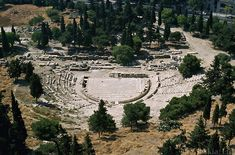 The theater of Dionysus, Athens (Saskia, Ltd.). This sits below  Acropolis.