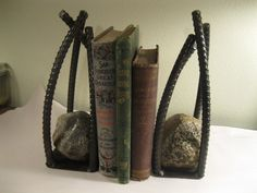 Metal Book EndsHandcrafted Welded Rebar by SwedeSteelWorks on Etsy, $40.00