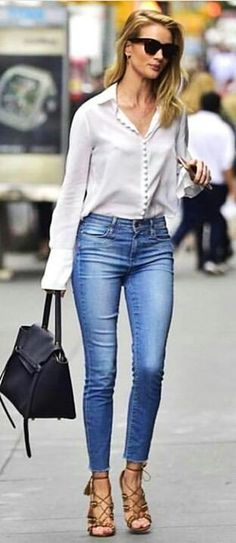 #fall #outfits  women's white collared long-sleeve top and blue denim fitted jeans