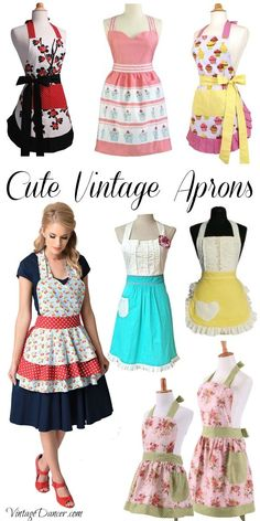 Vintage aprons, retro aprons, old fashioned aprons & apron sewing patterns. New vintage style aprons for women and kids inspired by the Retro Apron Patterns, Apron Pattern Free, Vintage Apron Pattern, Aprons Vintage, Vintage Sewing, Sewing Patterns, Dress Patterns, Vintage Patterns, Sewing Aprons