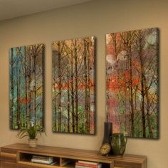 New 'Through The Trees' Triptych Painting Print on Wrapped Canvas by Latitude Run. Home Decor Furniture from top store Metal Wall Art, Wood Art, Canvas Art Prints, Painting Prints, Paintings, Pallet Picture Frames, Love Birds Painting, Painting Trees, Art Sur Toile