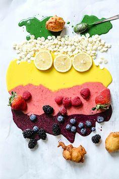 all about GLAZES – lemon glaze, strawberry glaze, blueberry glaze, matcha green tea glaze, white chocolate glaze --- on fritters FROM circahappy.com