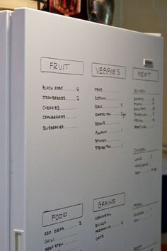 25 Hacks to Organize your Fridge - Use the front of the fridge as a whiteboard to keep track of what's inside
