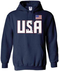 Volleyball American Flag Men Hoody Casual\r\n Coat with Kanga Pocket