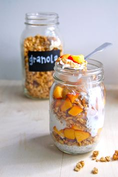 Easy Mason Jar Peach Parfait 6 oz. plain greek yogurt  1 tbsp. chia seeds 1/3 – 1/2 cup favorite granola  divided 1 peach, diced; divided Tbsp. favorite nut butter