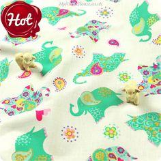 Zoo - aqua elephant & paisley cotton fabric FQ1302-05