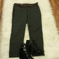 👖NWT👖Zara Polk Dot Pants Zara black and white polka dot straight leg pants with brown skinny belt. Size 8. New with tags. zara Pants Trousers