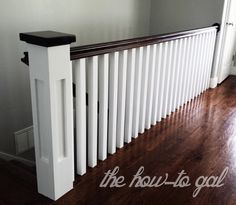 one side to basement-railing/ other side half wall. Opens up living rm to dining rm. The How-To Gal: Memoirs of a Banister square spindles, white spindles, dark handrail Stair Banister, Banisters, Railings, Banister Ideas, Painted Banister, Staircase Diy, Home Renovation, Home Remodeling, Banister Remodel