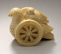 Pigeon Toy on Wheels, 19th century  Netsuke, Ivory with sumi, red pigment,