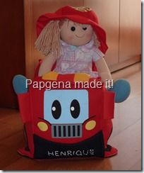 Papgena's firefighter dress-up refashion into stuffed pillow/toy