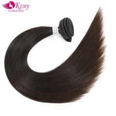 KEMY Unprocessed Brazilian Virgin Hair Weave 3 Bundles Straight Human Hair Extension High Ratio Longest Hair 55% For Hair Salon