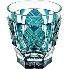 Just discovered Satsuma kiriko. I love the gradation of the more deep layered hues of Satsuma-style cut glass way more than the usual Edo kiriko (Tokyo-style). Want this sake cup! Cut Glass, Clear Glass, Glass Art, Japanese Handicrafts, Vases, Aqua, Turquoise, Teal, Crystal Glassware