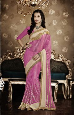 180754 Pink and Majenta color family Bridal Wedding Sarees in Georgette fabric with Border, Machine Embroidery, Sequence, Zari work with matching unstitched blouse. Ladies Suits Indian, Suits For Women, Indian Bridal Lehenga, Bridal Sarees, Indian Sarees, Latest Designer Sarees, Saree Models, Georgette Sarees, Saree Wedding