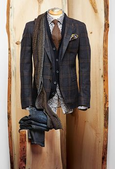 Van Gils Check Sport Coat Knit Vest Random Objects Print Shirt Brown Wool Donegal Tie Diamond Jacquard Scarf Paisley Pocket Square Jeans by Alberto