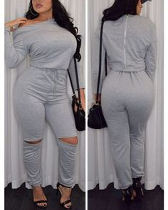 Fashion Long Sleeves Broken Holes Grey Polyester One-piece Jumpsuit