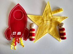 How to catch a star ( Based on Oliver Jeffers book) Oliver Jeffers, Peg Wooden Doll, Wooden Pegs, Rockets For Kids, Montessori, Book Baskets, Clothespin Dolls, Pretty Dolls, Felt Toys