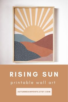 This Boho Rising Sun Printable Wall Art is an easy and affordable way to give your space an instant uplift. This mountain wall art will look great with boho modern home decor. It features an illustration of a sun desert scene through an arched window. Colours used: brown, beige, terracotta, yellow Visit my shop for more abstract printable wall art! Modern Art Prints, Modern Wall Art, Wall Art Prints, Landscape Prints, Abstract Landscape, Bohemian Art, Boho, Poster Color Painting, Autumn Rain
