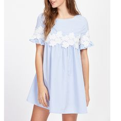 DIDK Women Floral Lace Applique Frill Sleeve Striped Babydoll Dress Summer Blue Short Sleeve A Line Casual Dress Short Lace Dress, Long Sleeve Floral Dress, White Floral Dress, Floral Lace, Short Sleeve Dresses, Dresses With Sleeves, Floral Dresses, White Lace, Ruffle Sleeve