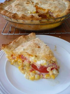 Fresh summer corn, tomato, and cheddar pie