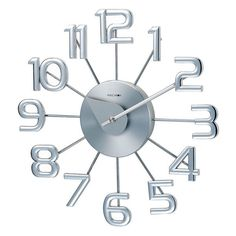 Round Shape Bold Numbers Silver Color Wall Clock New free shipping