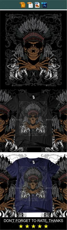Indian Skull X Tshirt design — Vector EPS #style #man • Available here → https://graphicriver.net/item/indian-skull-x-tshirt-design/19358849?ref=pxcr