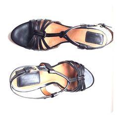 Clarks Shoes - Black wedge sandles