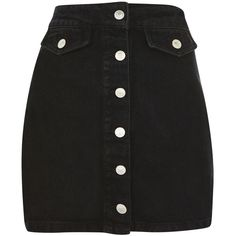 Topshop Moto Button Denim a-Line Skirt ($41) ❤ liked on Polyvore featuring skirts, black, knee length a line skirt, knee length denim skirt, a-line denim skirts, a line skirt and topshop skirts