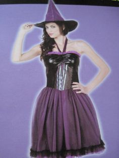 Woman-Sexy-Purple-Witch-Halloween-Costume-Totally-Ghoul-Dress-Hat-Size-Large