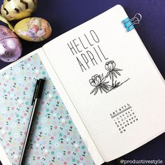 Bullet journal monthly cover page, April cover page, flower drawings. | @productivestyle