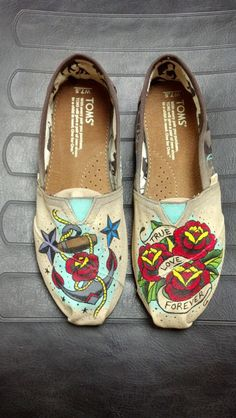 Hand Painted Old School Tattoo TOMS slipons by BrushedCustoms