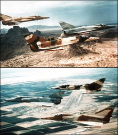 """""""Snipers"""" IAI Kfir Adversaries sporting various Eastern Bloc camouflage schemes (US Navy Photos) Military Helicopter, Military Jets, Military Aircraft, Iai Kfir, Snipers, Marine Corps, Usmc, Armed Forces, Cheetah"""