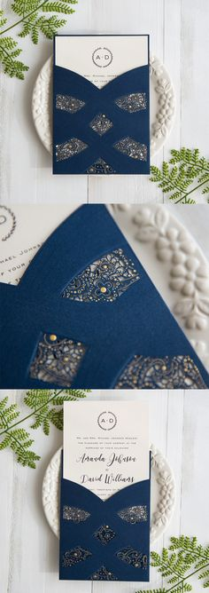 elegant navy blue laser cut wedding invitations with gold foiled polka dots #stylishweddinginvitations
