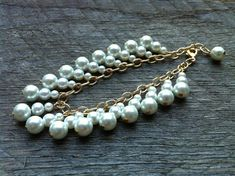 SUMMER SALE White Dangle Bracelet Glass Pearl on Gold Chain by haileyallendesigns