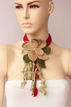 Joyas de ganchillo crochet colgante collar bufanda del