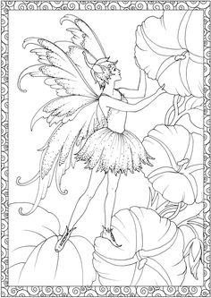 fada nas flores desenho colorir