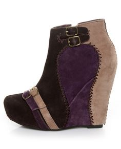 Restricted Ashbury Brown & Purple Mutlicolor Suede Wedge Booties- Lulus.com