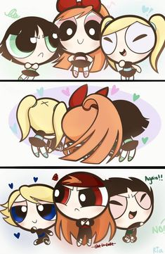 National Kissing Day by pureria on DeviantArt National Kissing Day, Power Puff Girls Z, Drawing Superheroes, Ppg And Rrb, Cute Art Styles, Cartoon Crossovers, Cartoon Network Adventure Time, Girl Cartoon, Magical Girl