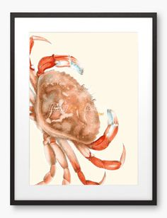 Bathroom Decor  Crab Sealife Art Print  Natural by Digartized, $15.00