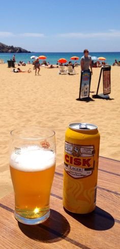 Cold Cisk beer on the beach - Golden Sands bay, Malta........see you soon....looking forward to our family day on the beach...... Miss you all so much...thank you for all your support...we love you all.......